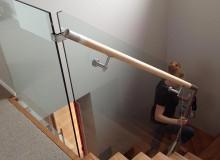 Canterbury Balustrade  Timber Handrail   Through Glass   SS Ends