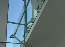 Canterbury Balustrade | Frameless Glass | 50 mm Round Stand-off | SS handrail